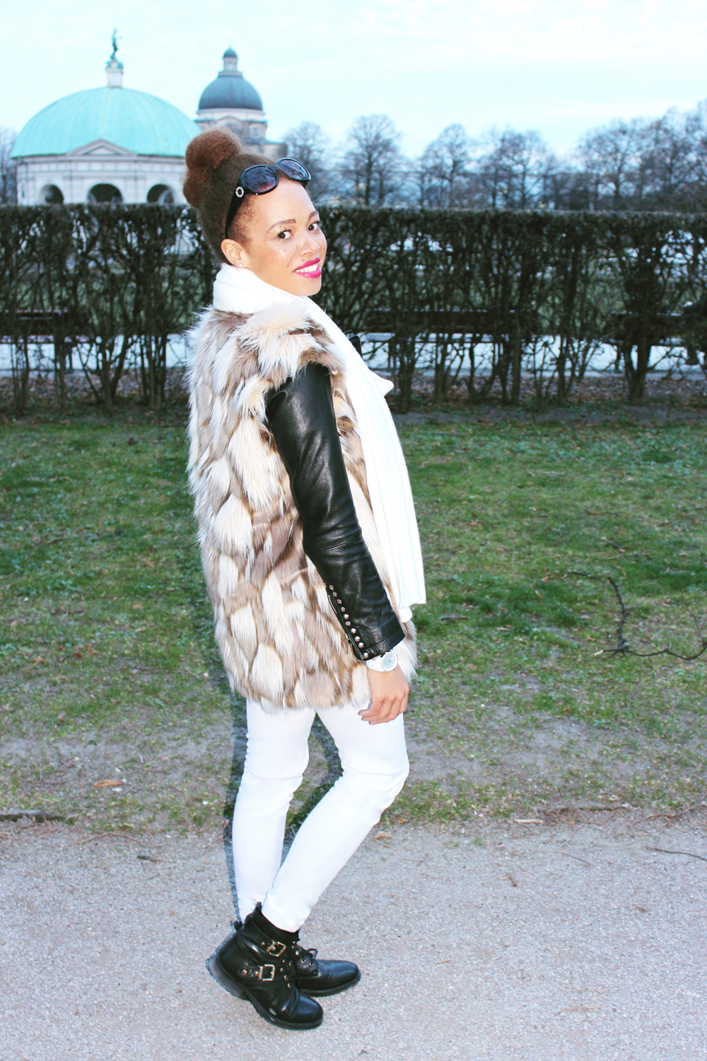 fatimayarie-fauxfurvest-leatherjacket-michaelkors-watch-whitepants-img_3054