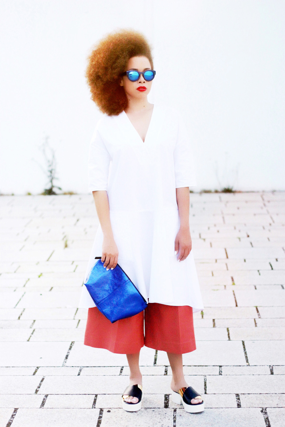 fatimayarie-afro-redcurls-copper-culottes-whiteshirtdress-clogs-img_9334