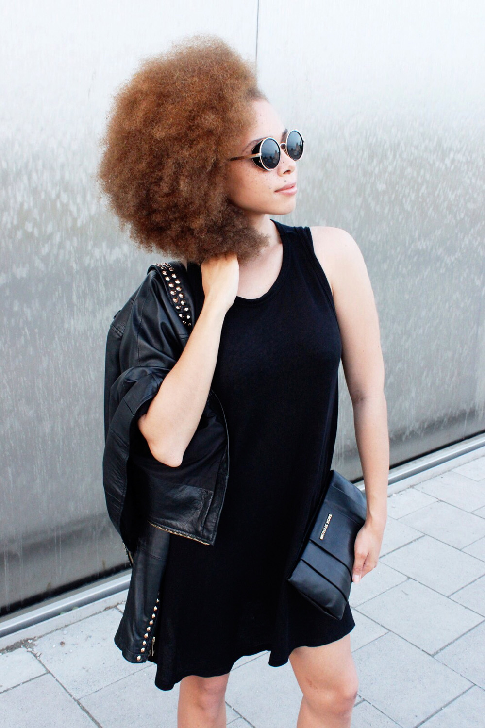 fatimayarie-afro-redcurls-blackdress-leatherjacket-michaelkors-clutch-img_5017