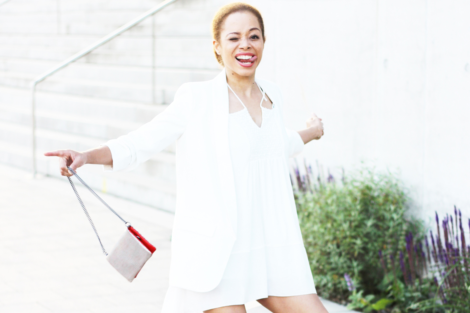 LOOK | Zara Off Shoulder Dress, White Blazer & FranCa Euphoria Clutch