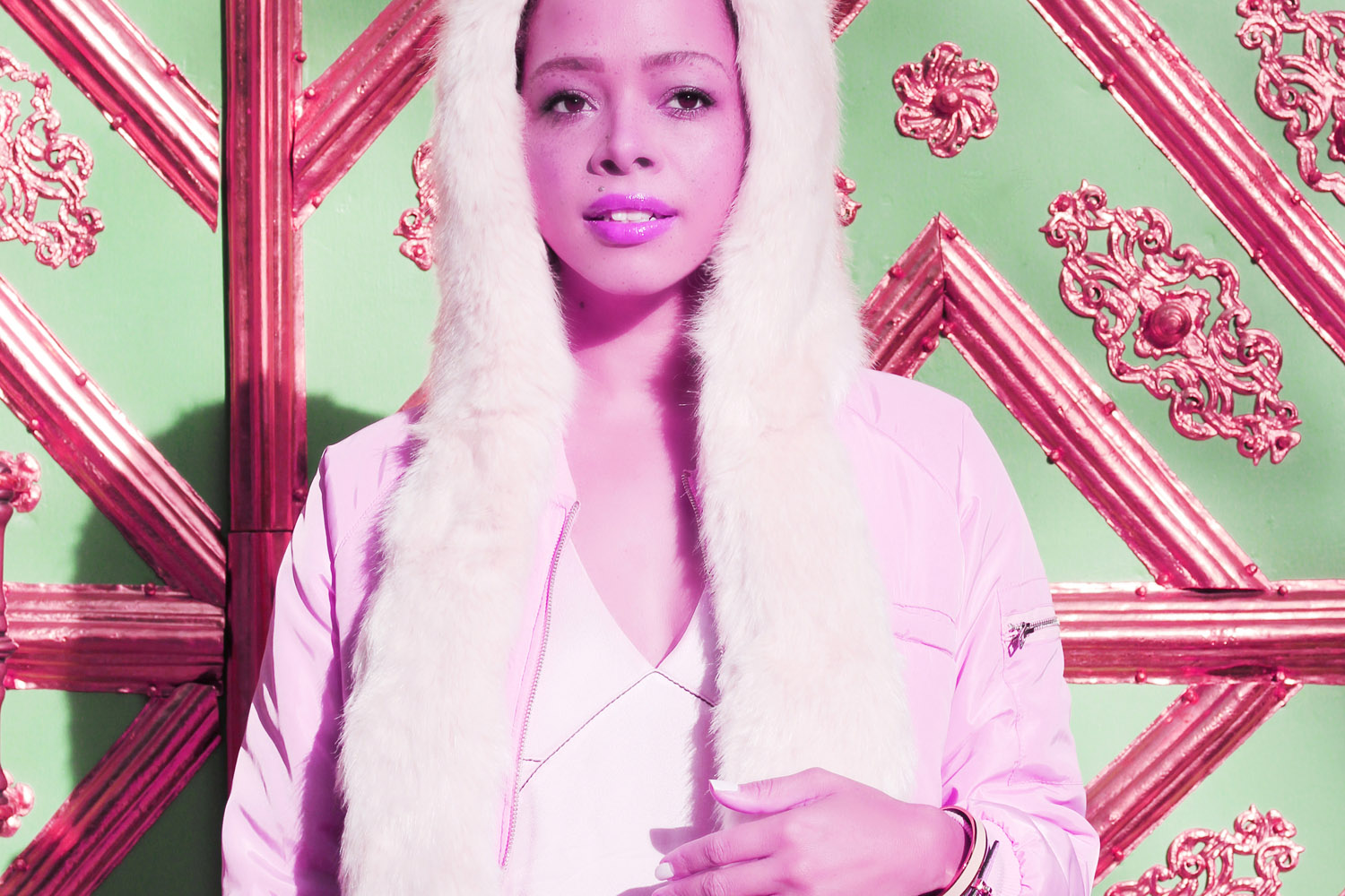 LOOK   Missguided Rose Gold Bomber Jacket & Cosy Faux Fur Cap